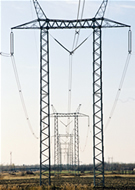 Steel lattice transmission tower 735 kv single circuit